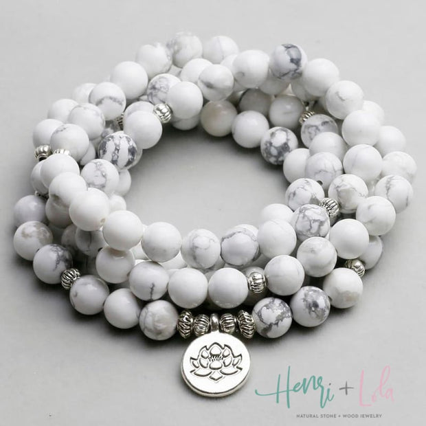 Natural White Howlite Mala Bracelet or Necklace - Yoga Bracelets & Malas