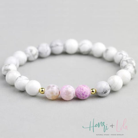 Natural White with Pink Howlite 8mm Bead Bracelet - Yoga Bracelets & Malas