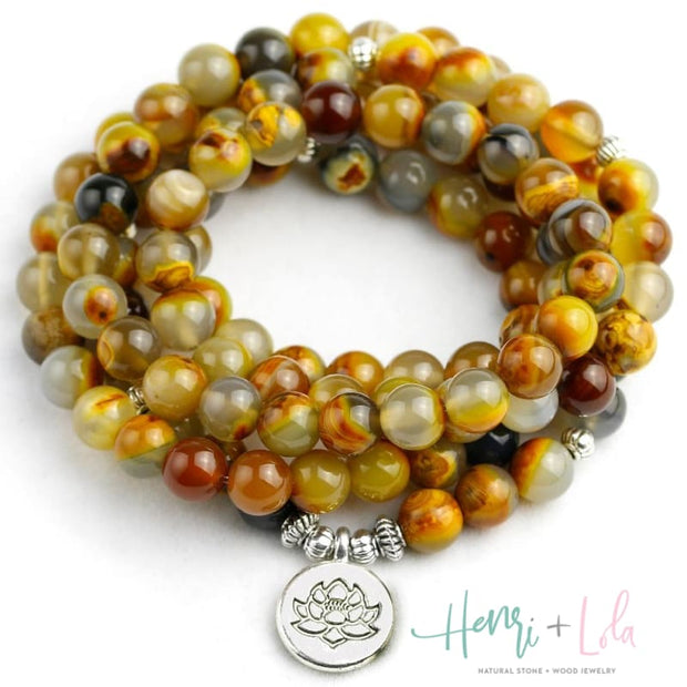 Natural Yellow Stone Beaded Mala Bracelet or Necklace - Yoga Bracelets & Malas