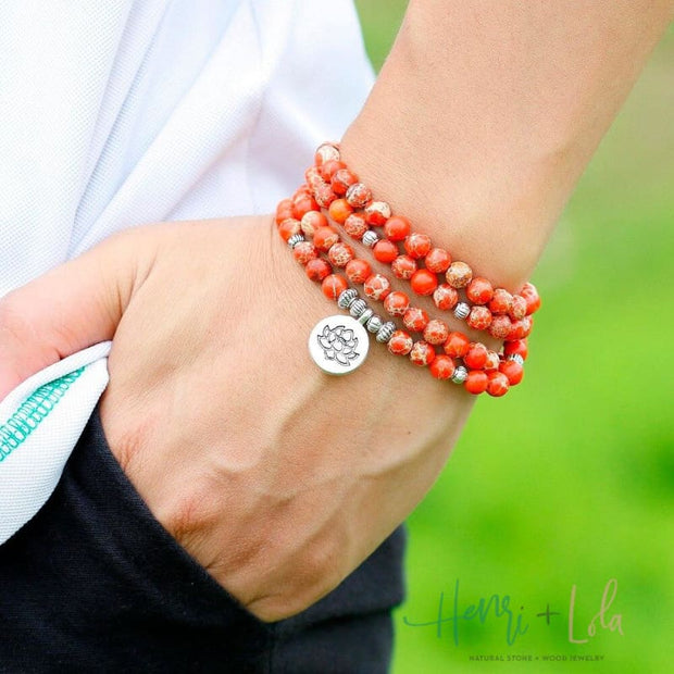 Orange Sea Sediment Stone Mala Yoga Bracelet or Necklace - Yoga Bracelets & Malas