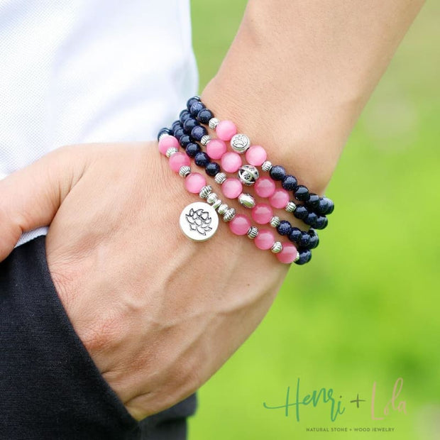 Pink Opal and Dark Blue Sandstone Mala Bracelet or Necklace - Yoga Bracelets & Malas