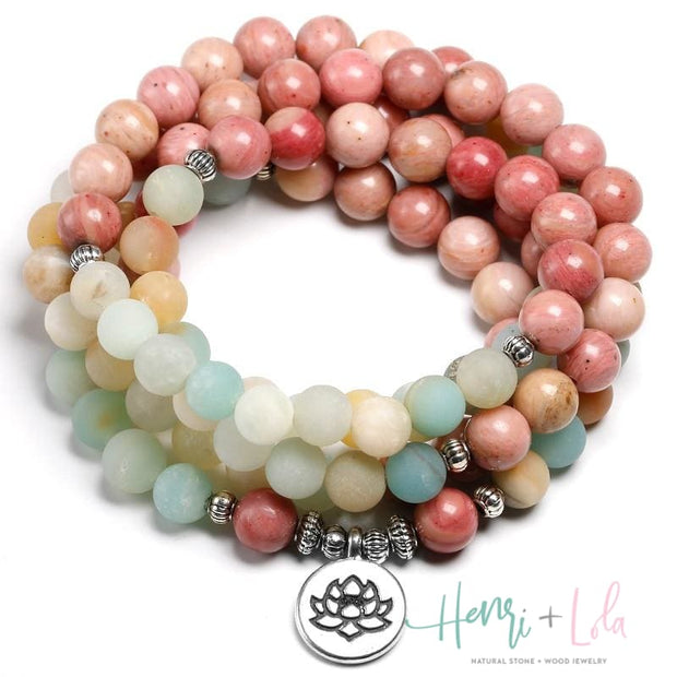 Rhodochrosite and Amazonite Mala Bracelet or Necklace - Yoga Bracelets & Malas