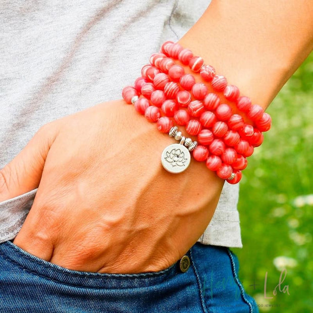 Rhodochrosite Natural Stone Mala Yoga Bracelet or Necklace - Yoga Bracelets & Malas