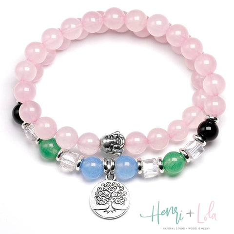 Rose Quartz, Chalcedony and Onyx 2-Layer Beaded Bracelet - Yoga Bracelets & Malas