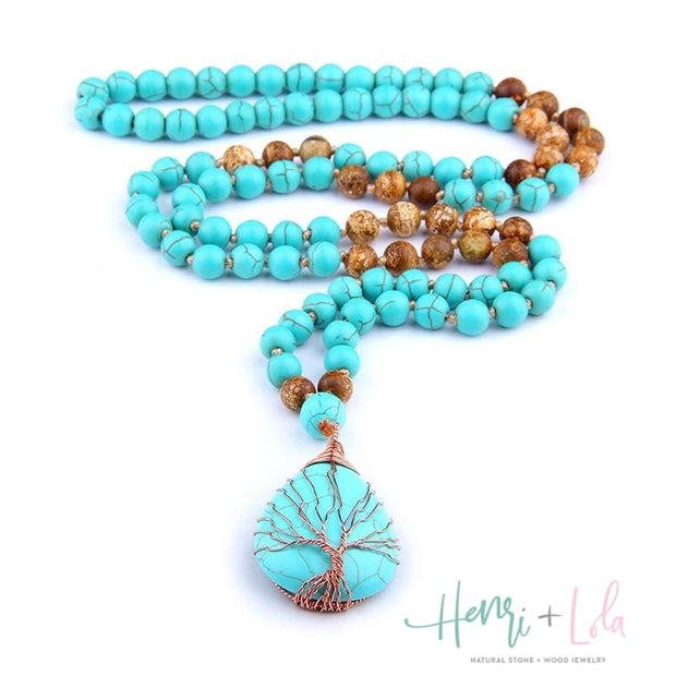 Turquoise Mala with Wire Tree of Life Pendant - Yoga Bracelets & Malas