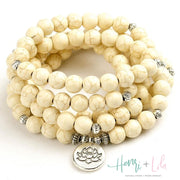 White Howlite Natural Stone Bead Mala Bracelet or Necklace - Yoga Bracelets & Malas