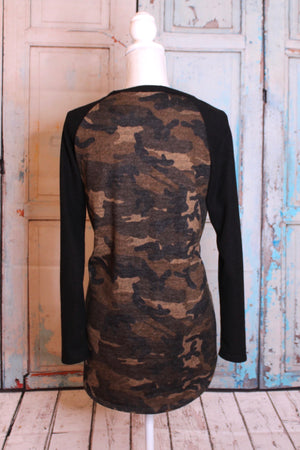 Color Block Camouflage Tunic