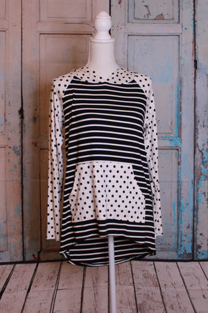 Black Polka Long Sleeve Top