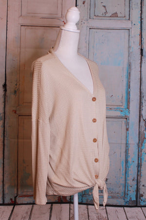 Waffle Knit Button Down in Oatmeal