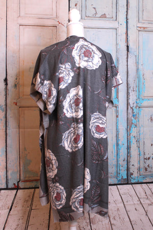 Floral Short Sleeved 'Cloak of Secrecy' in Grey