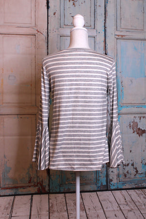 'Clear as a Bell' Long Sleeve Top in Stripes