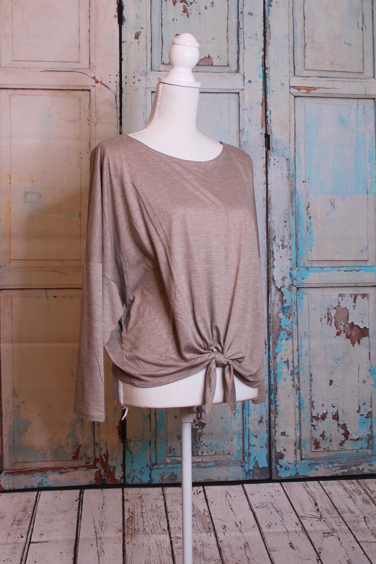 'Fit to be Tied' Long Sleeve Top in Oatmeal