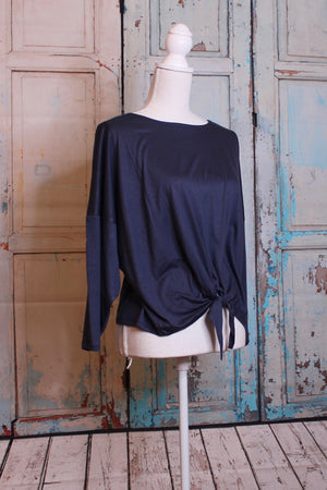 'Fit to be Tied' Long Sleeve Top in Navy