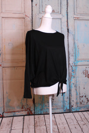 'Fit to be Tied' Long Sleeve Top in Black
