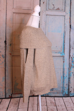 'Shoulder to Shoulder' Tan Cowl Neck Sweater