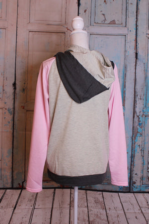 Color Block Asymmetrical Zip Hooded Sweatshirt