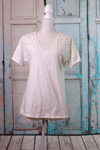 'Pearl Up Your Sleeve' Short Sleeve Top in White