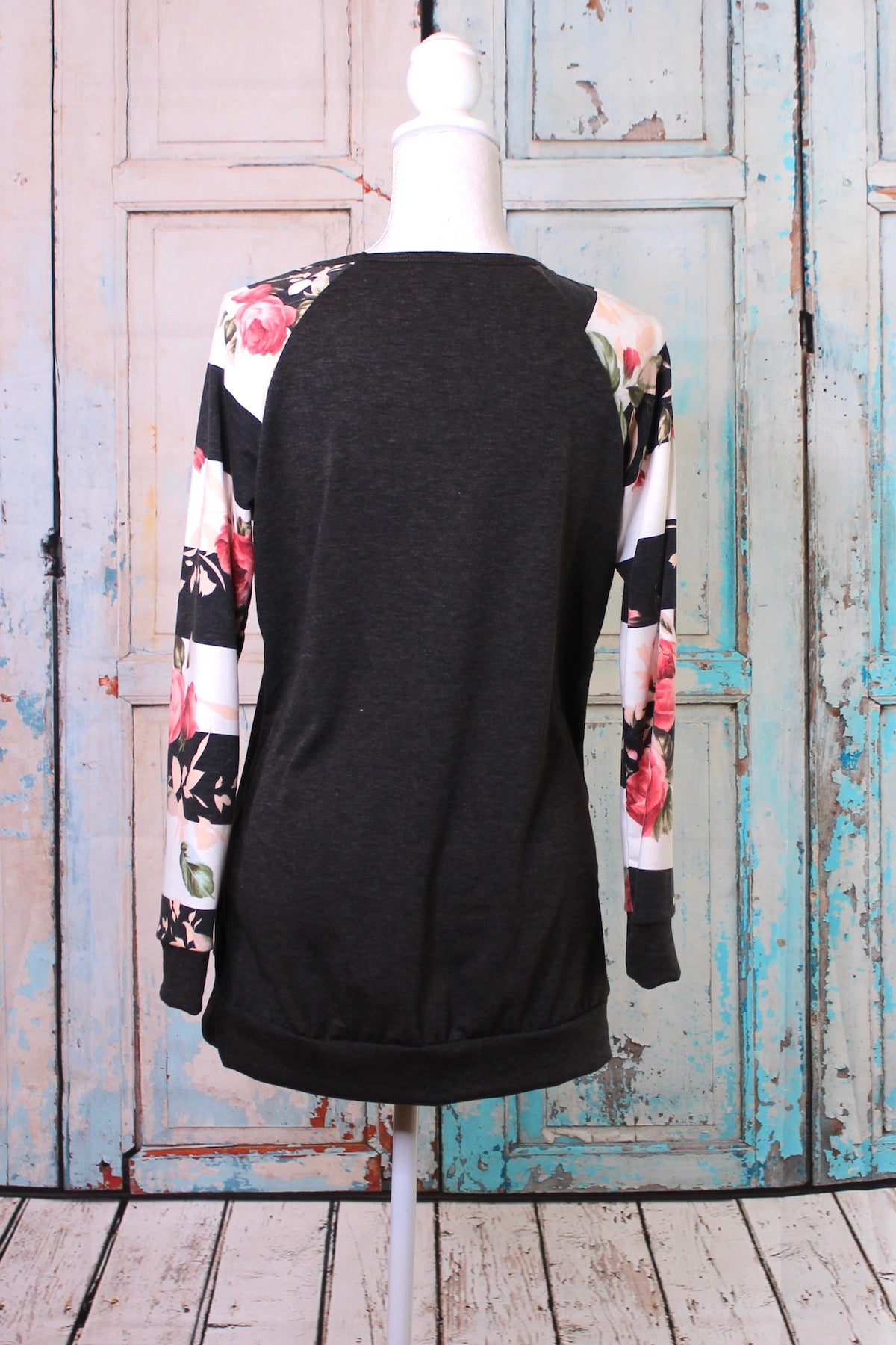 'The Floral Stripes' Long Sleeve Top in Black