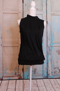 'Pure and Simple' Turtleneck Tank in Widow Black