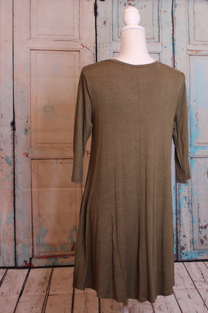 Tunic Dress in Hunter Green with Pockets