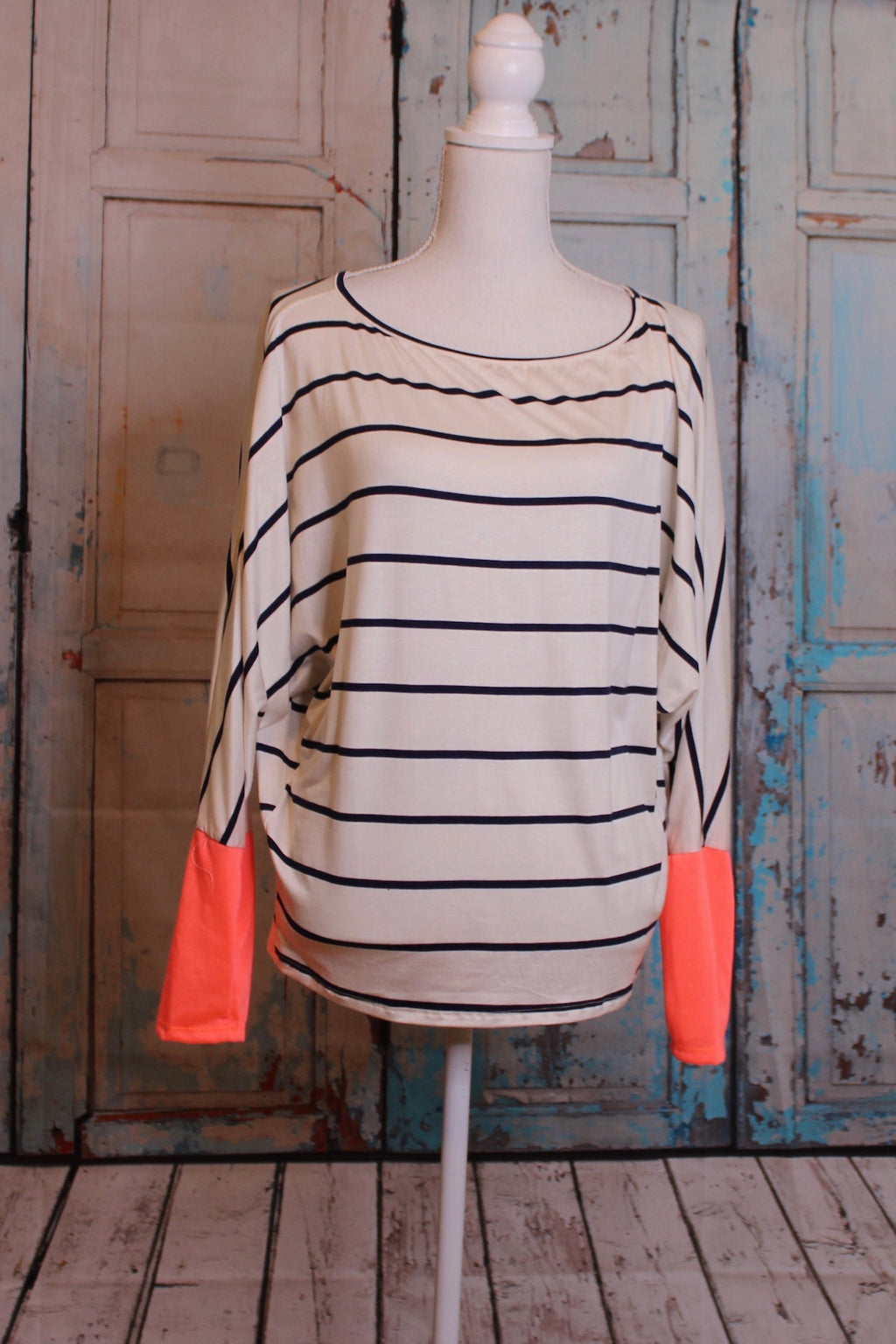 'Neon Lights' Striped Long Sleeve Top