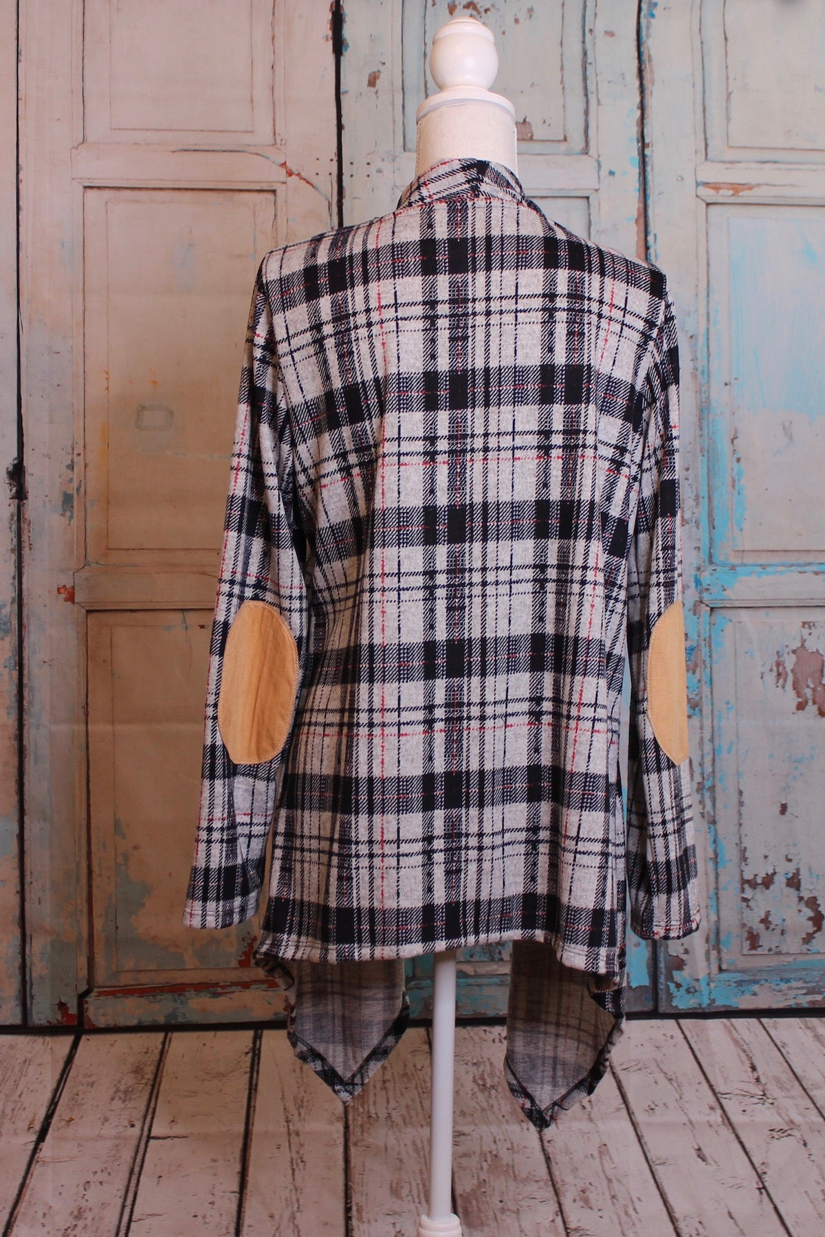 Madras Plaid Sweater Tunic with Tan Elbow Patches