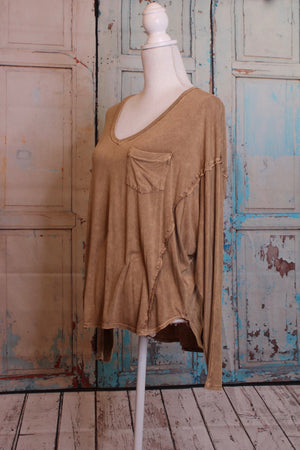 'Worn' Long Sleeve Top in Wooden Tan