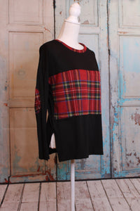 'Plaid For You' Color Block Top in Widow Black