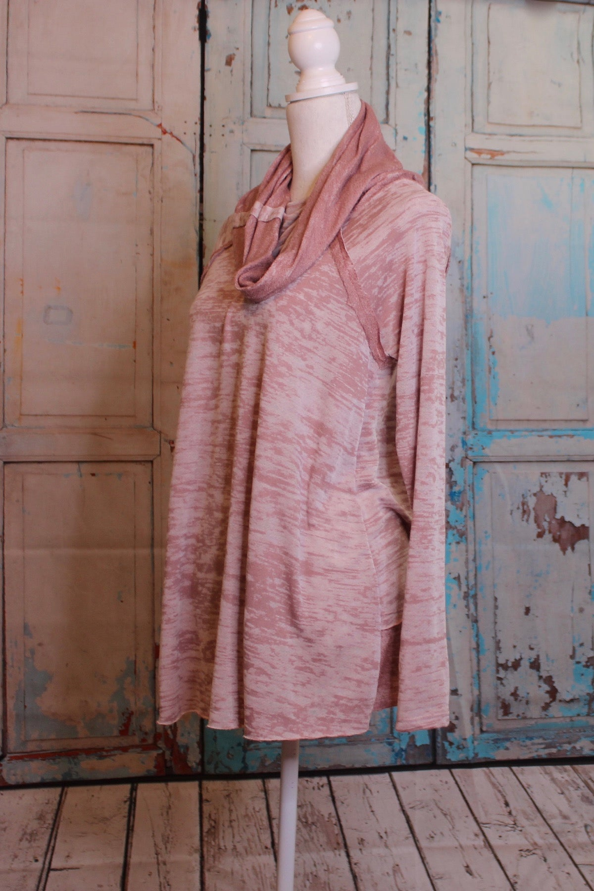 Pink Color Wash Long Sleeve Tunic with Cowl Neck