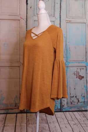 Bell Sleeve Sweater in Amber Yellow
