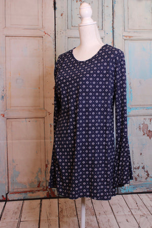 Plus Size Eyelet Bell Sleeve Top in Navy