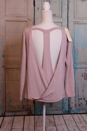 'Take the Plunge' Plunging Back Sweater in Dusty Rose