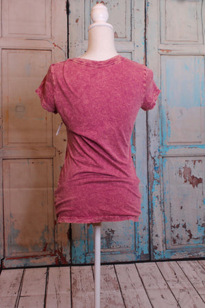Color Wash Short Sleeve Top in Warmly Pink