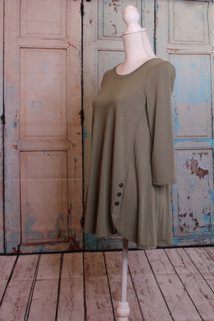 Light 'Olive You' Long Sleeve Top with Button Embellishment