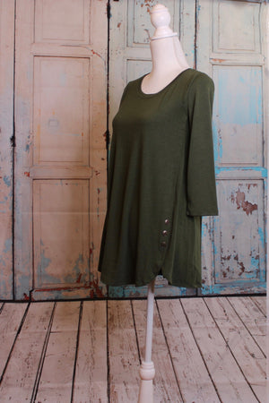Dark 'Olive You' Long Sleeve Top with Button Embellishment