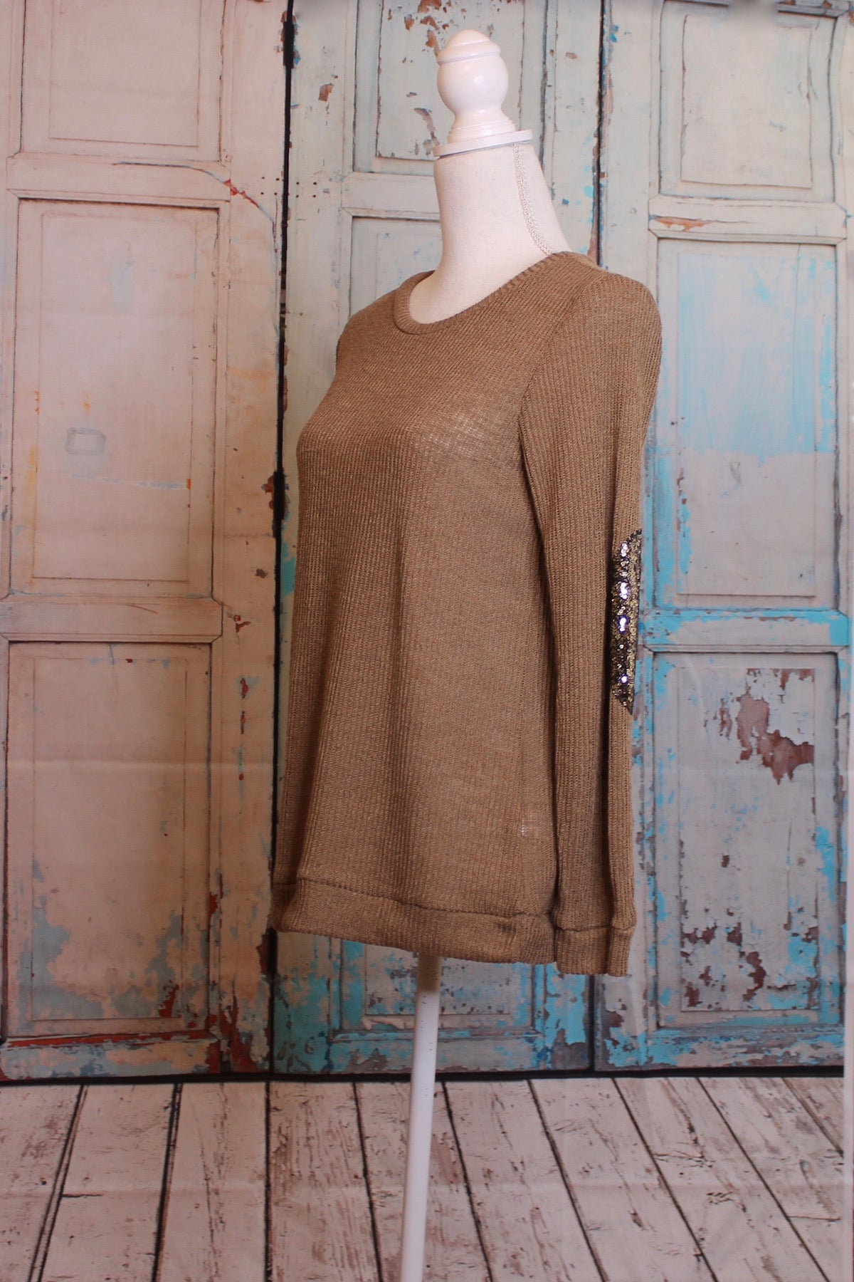 'Sparkle Like Markle' Latte Sweater with Elbow Embellishment
