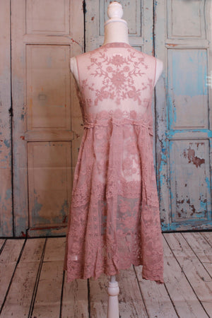 Rose Lace Duster without Sleeves