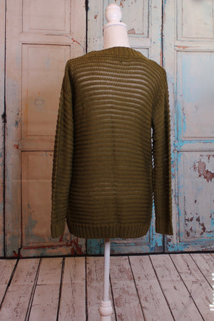 Seaweed Green Tunic Sweater with Leather Pocket