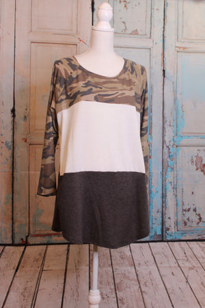 'Camo Over Here' Long Sleeve Color Block Top