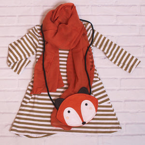 Kids 'Sly as a Fox' Long Sleeve, Purse and Scarf Set