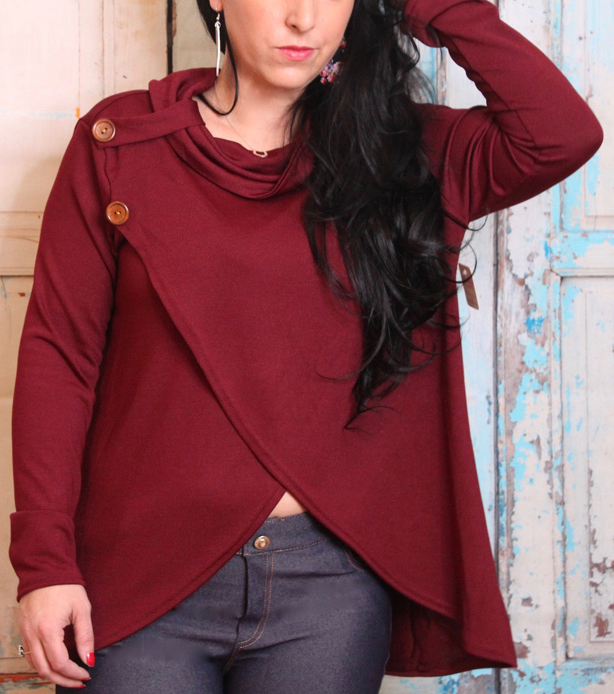 'Button Me Up' A-line Sweater in Maroon