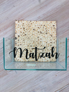 Glass Matzah Box (black)