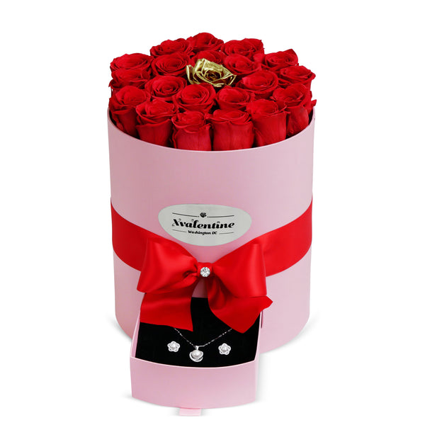 Grande Pink Box & Red/Gold Forever Roses