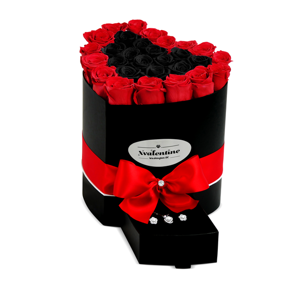 Love Black Box & Red/BlackForever Roses
