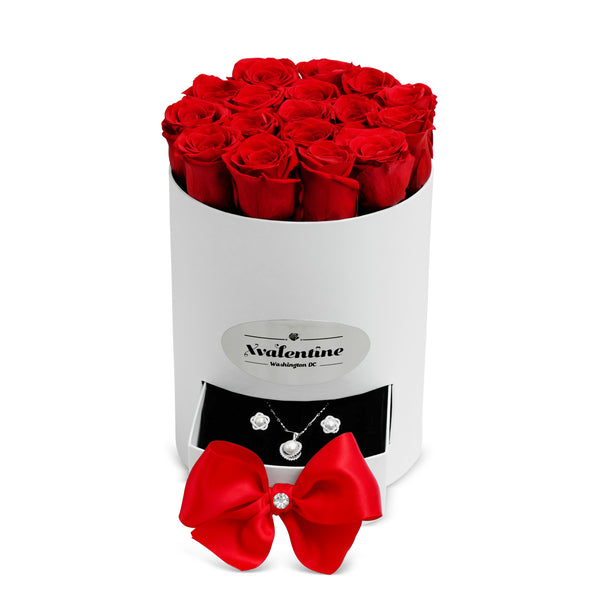 Petite White Box & Red Forever Roses