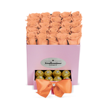Square Pink Box & Peach Forever Roses