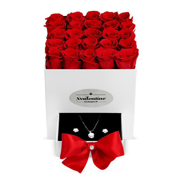 Square White Box & Red Forever Roses