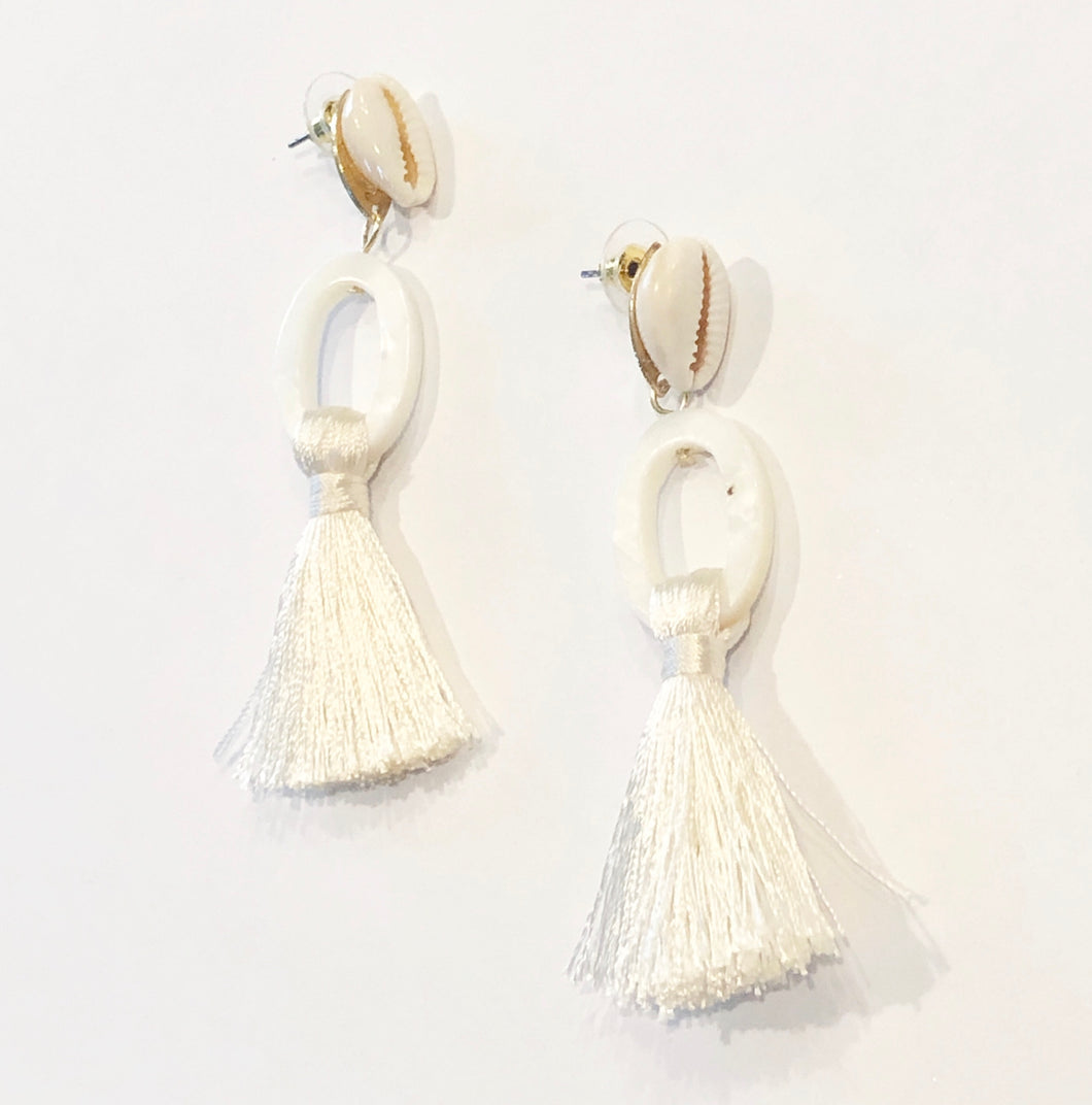 Beach Please White Earrings