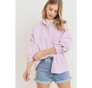 Lavender Button Down Corduroy Shirt