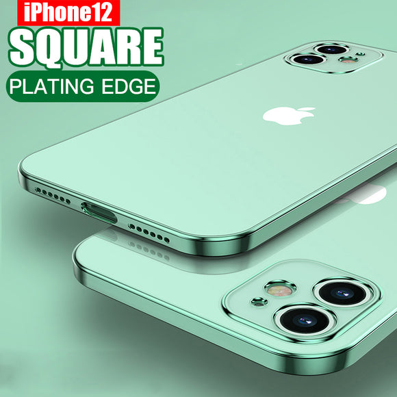 Luxury Square Soft Plating Clear Case For iPhone
